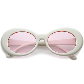 Retro hvide ovale solbriller med koniske arme farvede runde linse 51mm