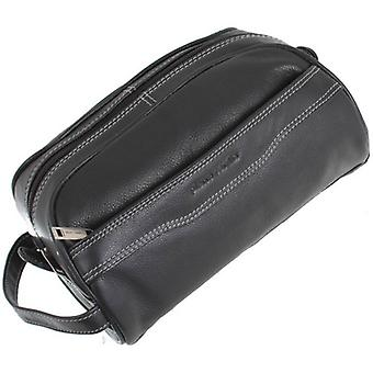 Pierre Cardin Leather Wash Bag - Black
