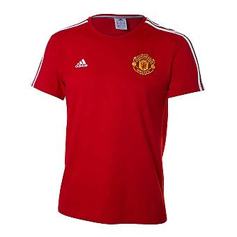 ADIDAS Manchester United Three Stripe T-Shirt [Red]