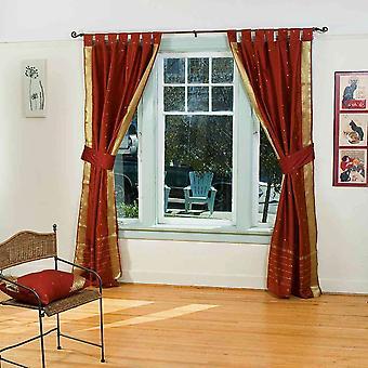 Indo Rost Tab Top Sari schiere Vorhang (43 Zoll x 84 Zoll) mit passenden Zugband