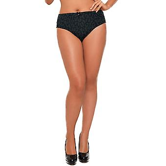 Womens Curvy Kate Black Animal Print and Bow Detail Ladies High Rise Brief