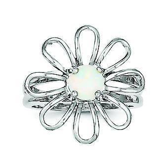 Sterling Silver polerat rodium-plated simulerade Opal Blomring - Ring storlek: 6 till 8