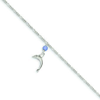 Poli Quartz bleu perle pendantes Dauphin cheville Figaro - anneau ressort - longueur: 9 à 10