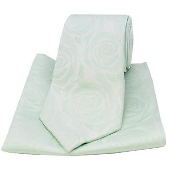 David Van Hagen Rose Wedding Tie and Pocket Square Set - Sea Green
