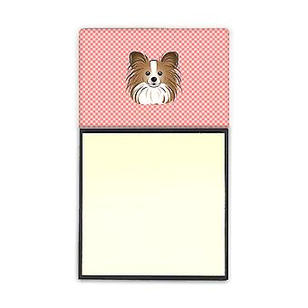 Checkerboard Pink Papillon Refiillable Sticky Note Holder or Postit Note Dispens