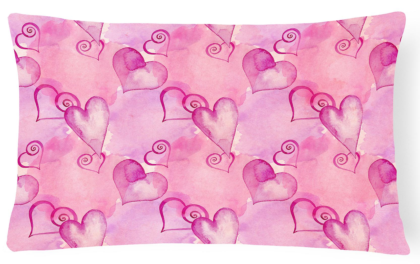 Fabric Pink Hearts Canvas Hot Decorative Pillow Watercolor SMqzVpU