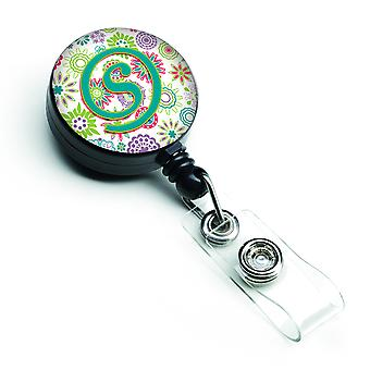 Letter S Flowers Pink Teal Green Initial Retractable Badge Reel