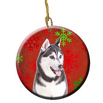 Red Snowflakes Holiday Christmas  Alaskan Malamute Ceramic Ornament