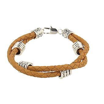 7details premium leather bracelet camel Brown zinc alloy hand work from Spain