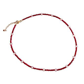 Gemshine - ladies - necklace - gold - Ruby - Red - Moon stone - white - faceted - 45 cm