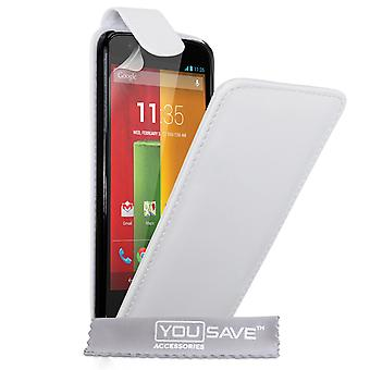 Yousave Accessories Motorola Moto G Leather-Effect Flip Case - White