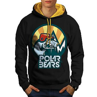 Ours polaire bête Animal hommes noir (capot or) contraste Hoodie | Wellcoda