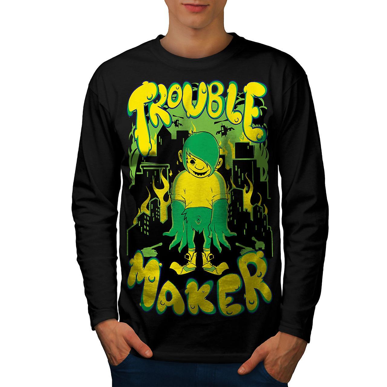 Trouble Maker Art Men BlackLong Sleeve T-shirt | Wellcoda