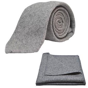 Stentvättad Medium grå slips & Pocket Square Set