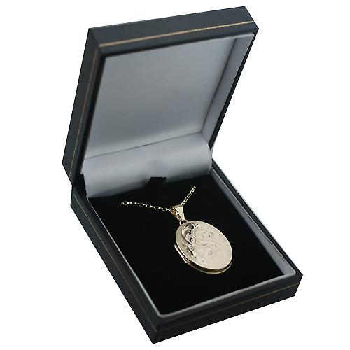 9ct Gold 30x24mm flat oval hand engraved Locket with an Oval Link Belcher chain