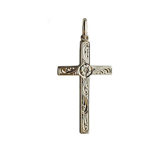 9ct Gold 30x18mm victorian hand engraved solid block Cross