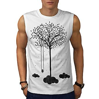 Tree Cloud Space Nature Men WhiteSleeveless T-shirt | Wellcoda