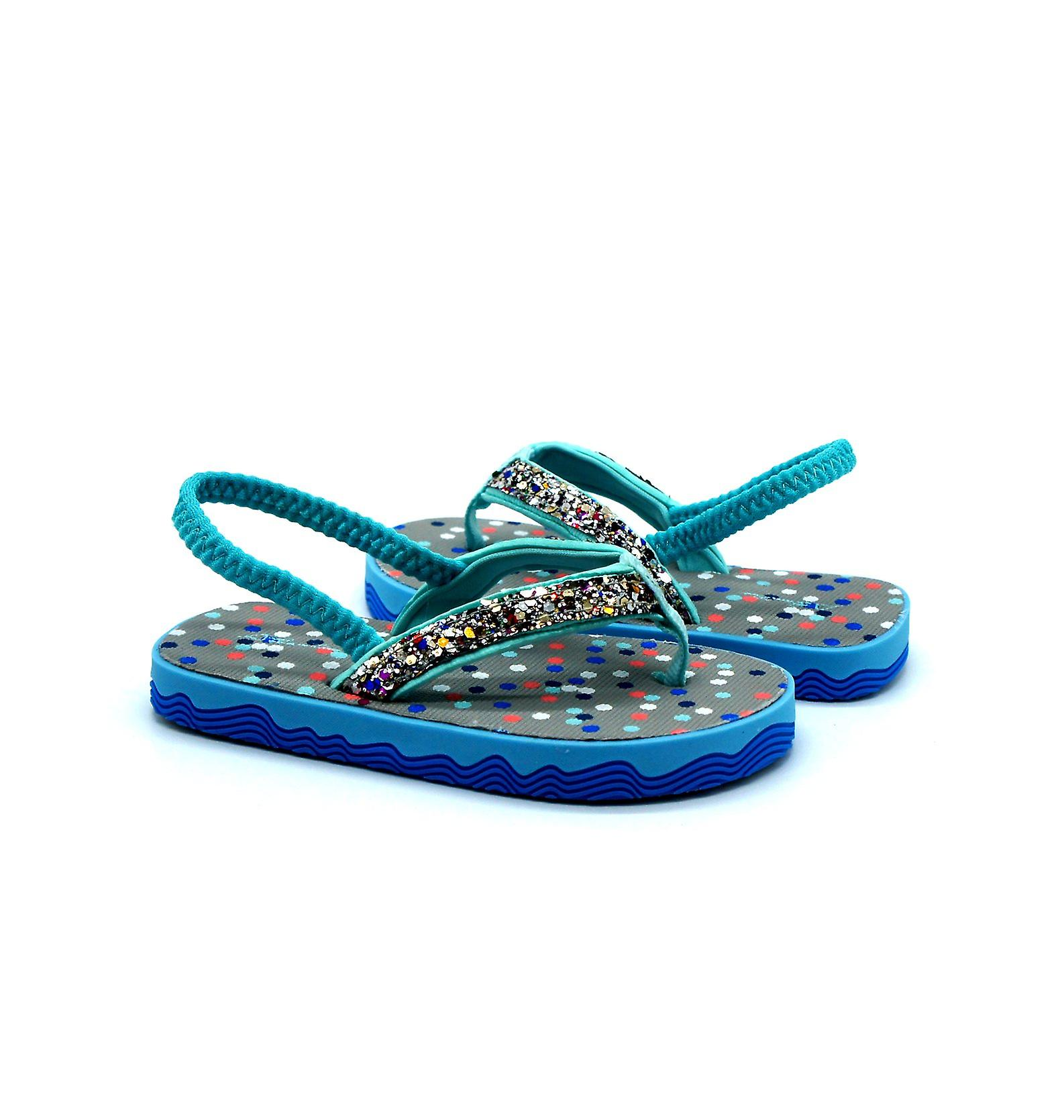 Atlantis Shoes Kids Girls Supportive Cushioned Comfortable Sandals Flip Flops Twinkle Turquoise