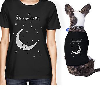 Moon And Back Small Pet Owner Matching Gift Outfits Black T-Shirts