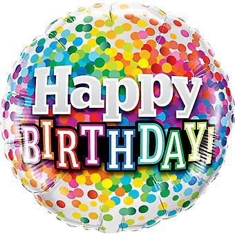 Folie ballong av fødselsdagen bursdag konfetti ca 45 cm