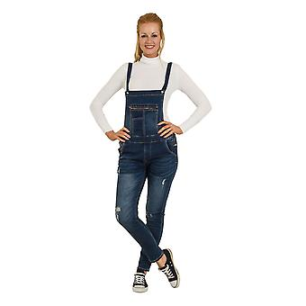 Skinny Fit Distressed Denim Dungarees Ladies Bib Overalls Abrasion Detail