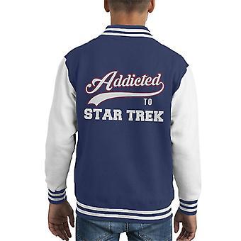 Addicted To Star Trek Baseball Font Kid's Varsity Jacket