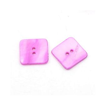 Packet 10 x Magenta Shell 20mm Square 2-Holed Sew On Buttons Y00705