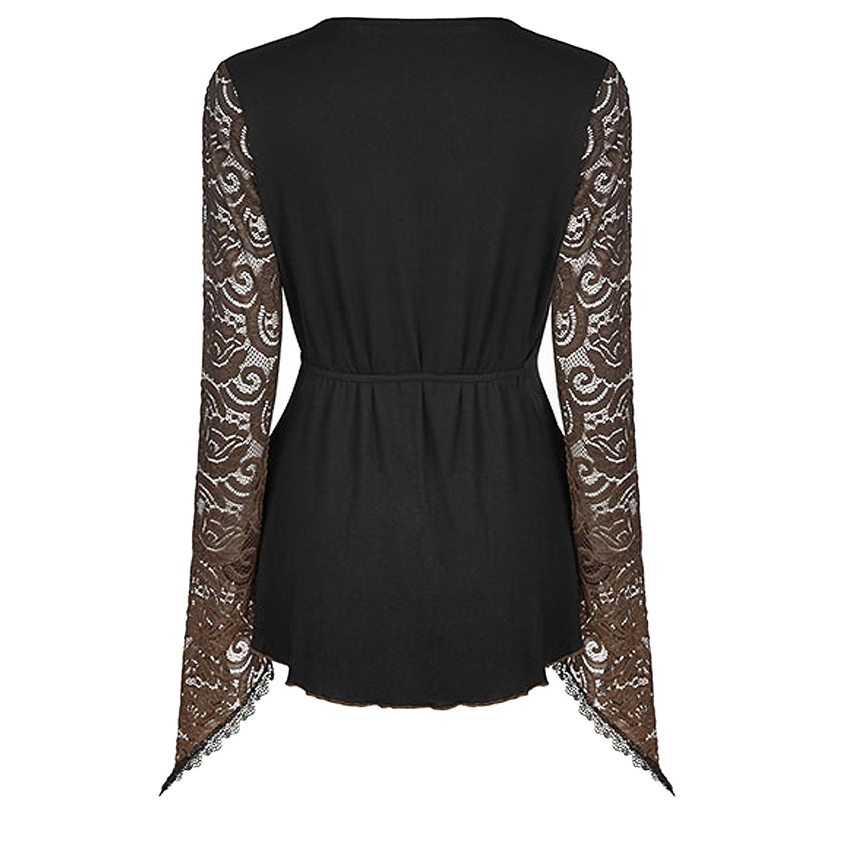 Autumn Brown Flowers - Long Lace Goth Sleeve Top