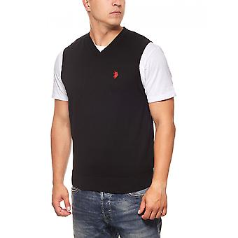 U.S. POLO ASSN. Vests men's knit pullovers black knit pullover