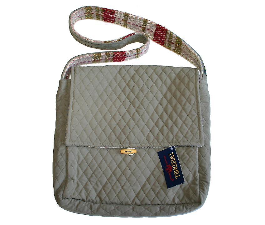 Sage trapuntato e Lana Shoulder Bag Recycled casuale