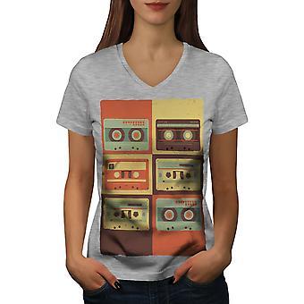 Vintage Cassette Music Women GreyV-Neck T-shirt   Wellcoda