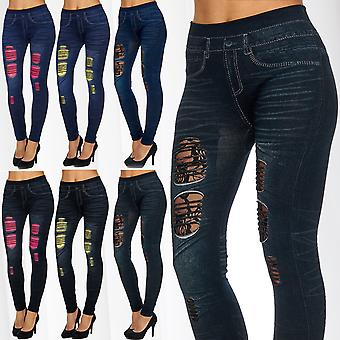 Ladies Stretch Leggings Neon without Seam Pants Treggings Lace torn holes uni