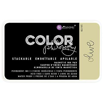 Prima Color Philosophy Permanent Ink Pad In Magnetic Case-Olive