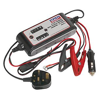 Sealey Smc03 Compact Auto Digital Battery Charger - 7-Cycle 6/12/24V