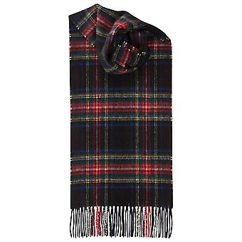 Johnstons of Elgin Black Stewart Lambswool Tartan Scarf - Green/Red
