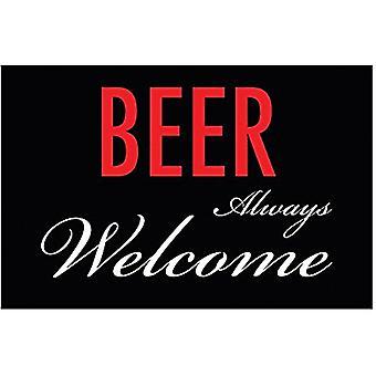 Øl alltid velkommen morsomme metall skilt