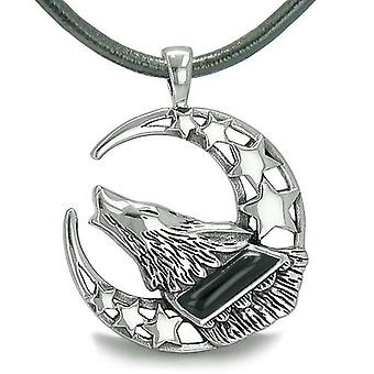 Howling Courage Wolf Moon and Stars Amulet Positive Earth Energy Onyx Protection Leather Necklace