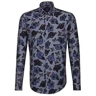 Seidensticker Kent Collar Floral Print Mens Business Shirt