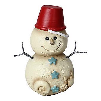 Kystnære jul Beach Sand spand Hat på Baby snemand 5 tommer bordplade figur