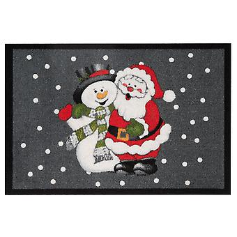 40 x 60 cm grey doormat dirt trapping pad Santa and snowman