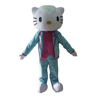 SPOTSOUND Hello Kitty mascot, dressed in blue and pink costume