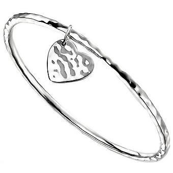 Begin hart label gehamerd Bangle - zilver
