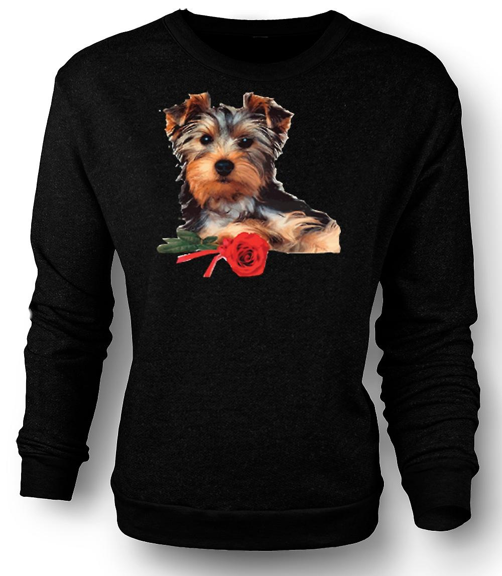 Mens Sweatshirt Yorkshire Terrier Hund mit Rose