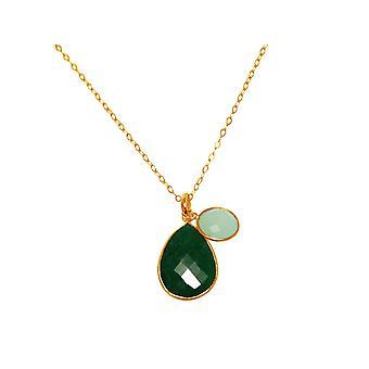 GEMSHINE halskjede med smaragd og chalcedony gemstone 925 sølv eller forgylt