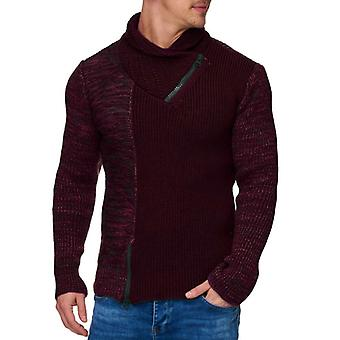Tazzio fashion mens chunky knit sweater with red collar details