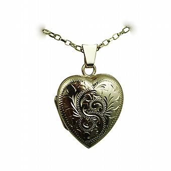 9ct Gold 21x19mm hand engraved heart shaped Locket with a belcher Chain 24 inches
