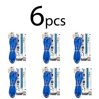 6 pack VER008S Riser Card pci-e x1 to x16 6pin+4pin+SATA power connector 60cm