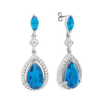 Bertha Juliet Collection Women's 18k WG Plated Light Blue Teardrop Fashion Earrings