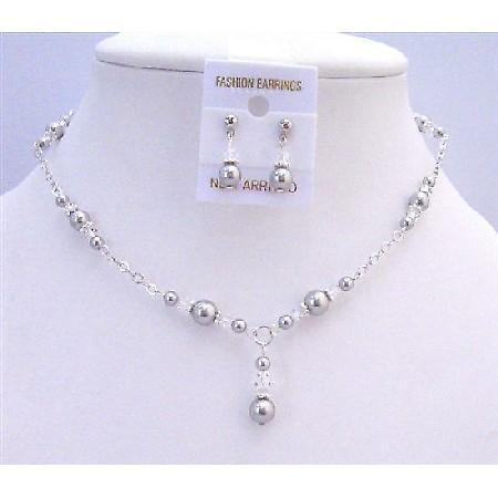 Wedding Bridal Swarovski Lite Grey Pearls Clear Crystals Jewelry Set