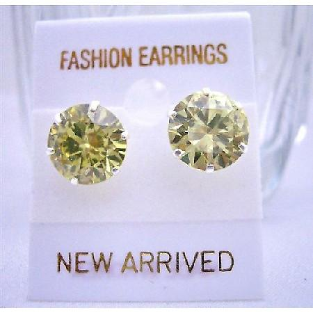 10mm Round Olivine Cubic Zircon Sterling Silver Post Cz Stud Earrings